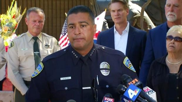 [LA] Emotional Moment: Palm Springs Chief Breaks Down Describing Fallen Officers' Dedication