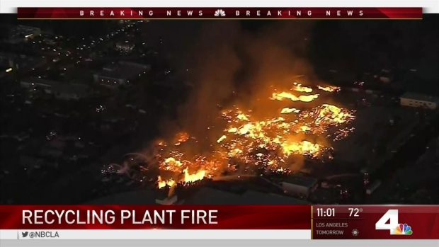 [LA] Fire Burns at Ontario Recycling Plant