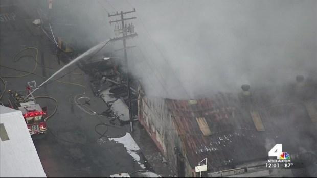 [LA] Fire Burns Huntington Park Businesses