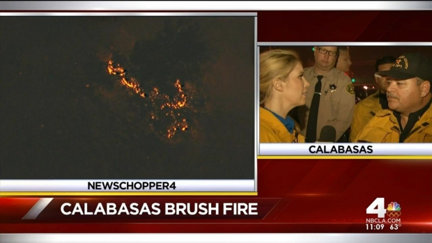 [LA] Firefighters Remain Vigilent Into Night 7 Hours Into Calabasas Blaze
