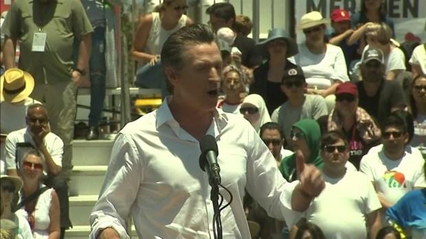Gavin Newsom Speaks at LA Immigration Rally