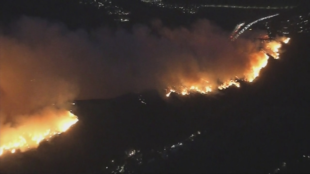 Wildfire burning near the Getty Center in Los Angeles