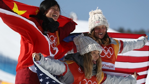 Feb. 13 Olympics Photos: US Takes Gold in Halfpipe, Wipeouts