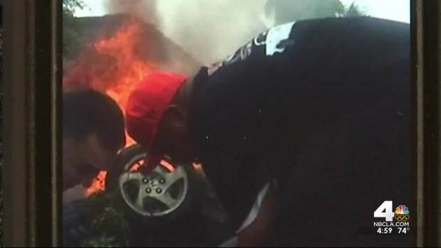 [LA] Good Samaritan Pulls Driver From Burning Car