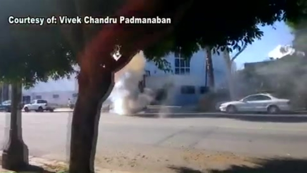 [LA] RAW VIDEO: Manhole Cover Blows