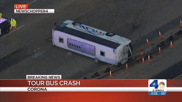 [LA] SoCal Tour Bus Crashes Leave 1 Dead, Dozens Injured