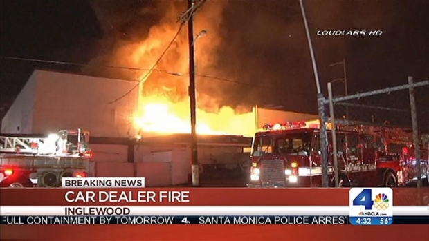 [LA] Fire Breaks Out at Former Car Dealership