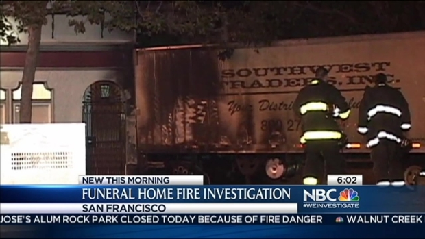 [BAY] Semi-Truck Sparks Fire at Funeral Home