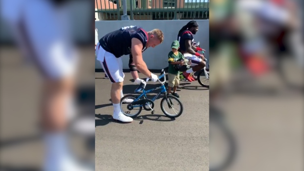 [NATL] J.J. Watt Breaks Kid's Bicycle