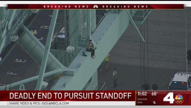 Man Atop Port of LA Crane Taunts Police After Chase