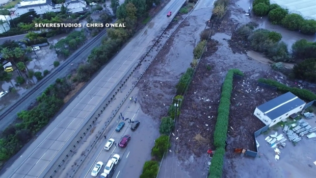 A Bird's Eye View of Debris in Montecito After the Storm