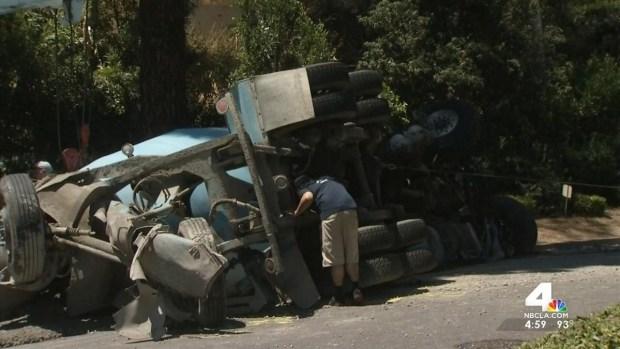 [LA] Exclusive Video Shows Aftermath of Cement Truck Crash