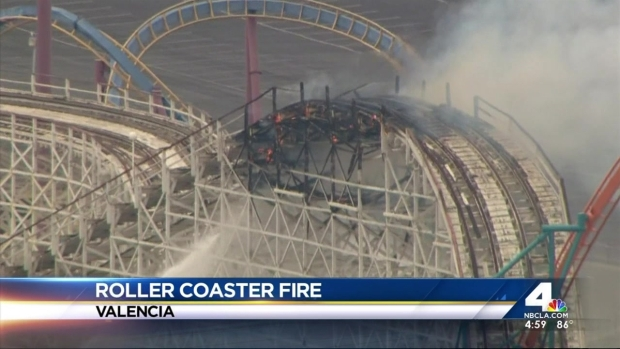 [NATL-LA] Historic Wooden Six Flags Coaster Burns