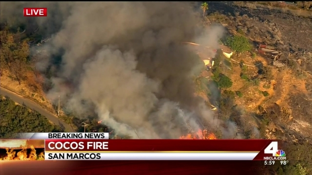 [LA] Stubborn Cocos Fire Posing Biggest Threat for Fire Crews