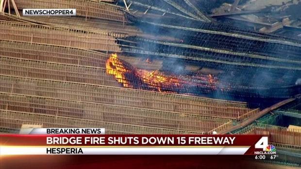 [LA] Fire on Bridge Shuts Down Freeway, Jams Traffic