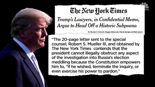 [NATL] In Leaked Memo, Trump Lawyers Argue He Can Pardon Himself