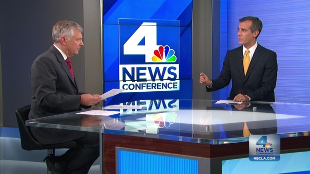 [LA] NewsConference:  LA Mayor Eric Garcetti on long term solutions to cities biggest problems