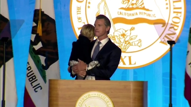 Newsom's Son, Dutch, Steals Show at Swearing-In Ceremony