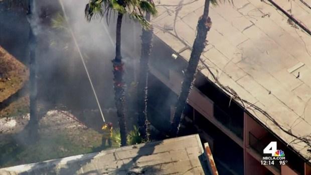 [LA] Wind Pushes Brush Fire in Long Beach