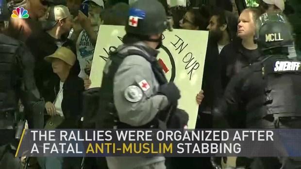 [NATL] Portland Free Speech Rallies Draw Thousands; 14 Arrested