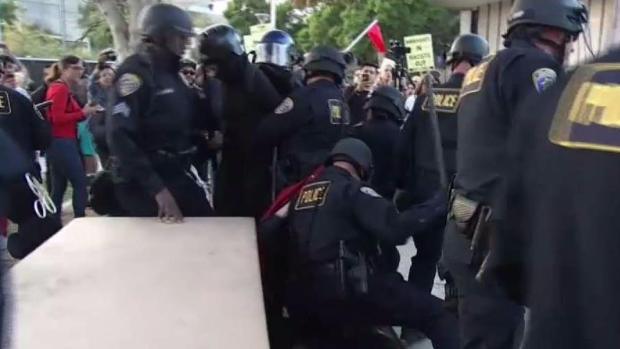 [LA] Protests Fights, at CSUF Yannopolous Speech