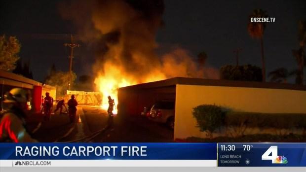 [LA] Raging Fire Burns Carports, Damages Cars