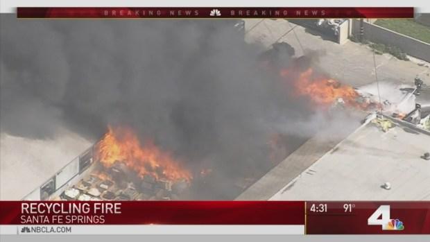 [LA] Santa Fe Springs Fire Consumes Buildings Cars