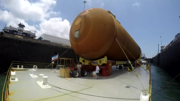 Shuttle Fuel Tank: On a Barge