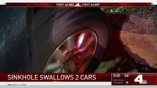 [NATL-LA] Sinkhole Swallows Two Cars in Studio City