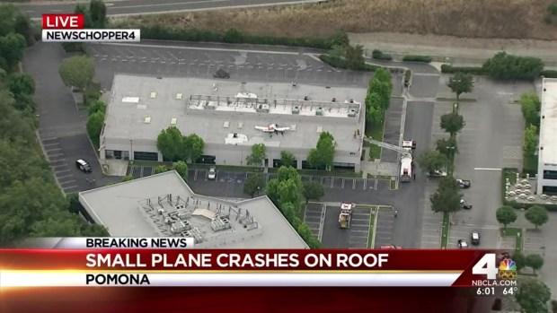 [LA] Small Plane Crash Lands on Pomona Roof