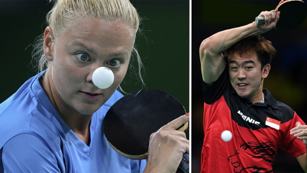 The Intense Faces of Olympic Table Tennis Players