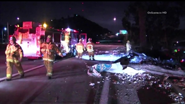 [LA] Milk Tanker Crash Closes SoCal Freeway Interchange