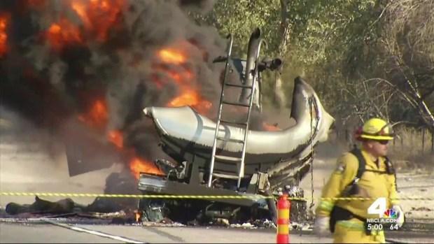 [LA] Tanker Fire Causes Massive Freeway Backup