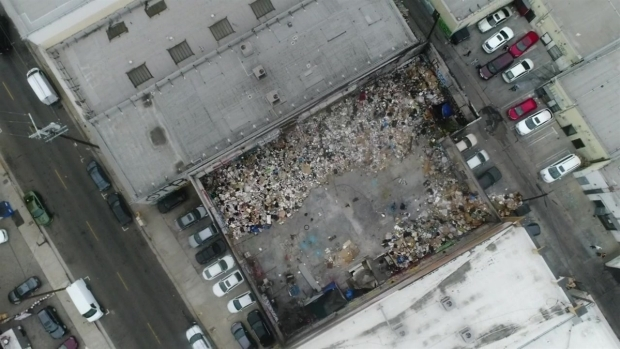 [LA] Watch: The View From Above a Sprawling Downtown LA Trash Pile