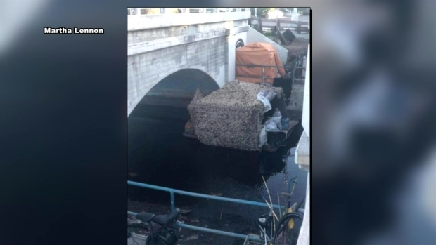 [LA] Video Shows Homeless Encampment Raft Floating in Venice Canal