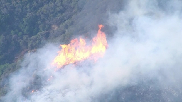 Brush Fire Threatens Homes In La Tuna Canyon