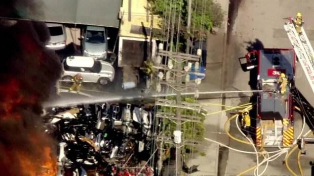 [LA] Wilmington Auto Yard Goes Up in Flames