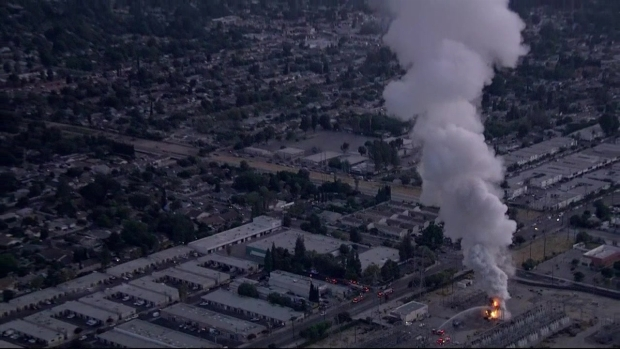 Raw Video: Fire at LADWP Plant in Northridge Leaves 140K Without Electricity