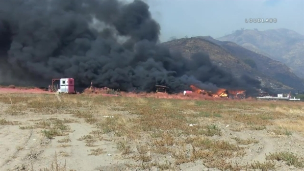 Raw Video Palmer Fire Sparked by Fireworks