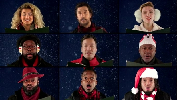 [NATL] 'Tonight Show': All-Star A Capella of 'Wonderful Christmastime' With McCartney, McConaughey, Witherspoon, Johansson and More