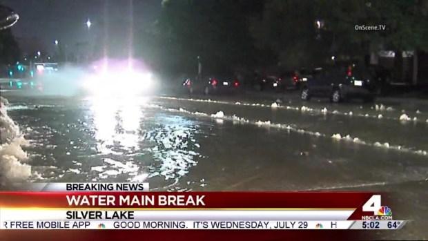 [LA] Street Heavily Flooded After Water Main Breaks in Silver Lake