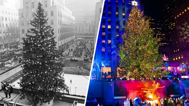 [NATL] Dazzling Rockefeller Center Christmas Trees From Years Past - Sprucing Up In NYC: Rockefeller Center Lights Christmas Tree - NBC