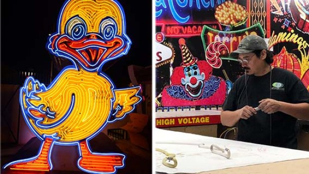 [LA hold for Saturday] Photos: Iconic Neon Museum's Ugly Duckling Sign Undergoes Repairs