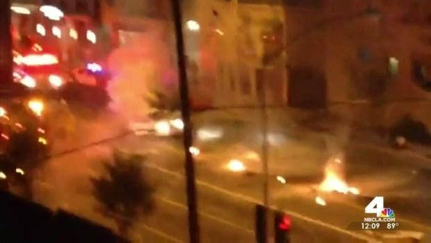 [LA] Half of Tesla Wedged in Synagogue After Fiery Crash
