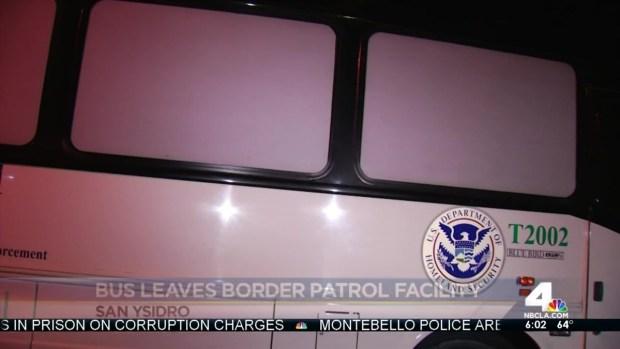 [LA] Bus Carrying Immigrant Families Leaves San Ysidro