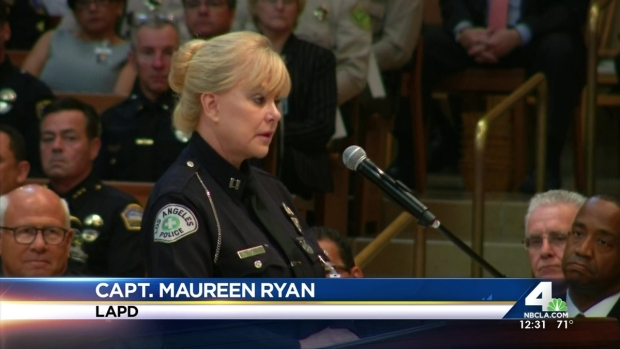 [LA] Officers, Family Mourn LAPD Officer at Memorial Service