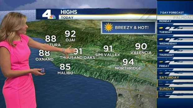 [LA] AM Forecast: Temperatures Climb Toward 100