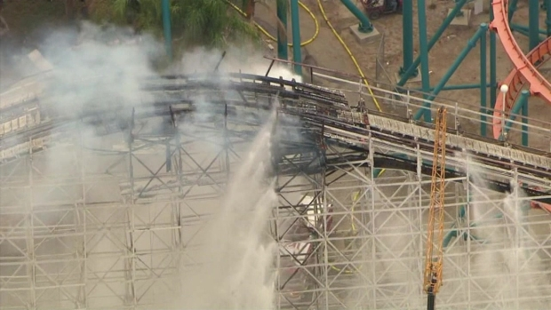 [LA] RAW: Fire Causes Collapse on Colossus Rollercoaster