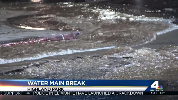 [LA] Water Main Break Causes Headaches in Highland Park