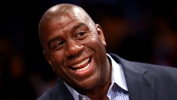 [LA] Basketball Great Magic Johnson Hosts Obama in LA